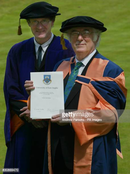 Irish poet and Nobel Prize winner Seamus Heaney at the University of East Anglia in Norwich where he received an Honorary Degree from Professor...