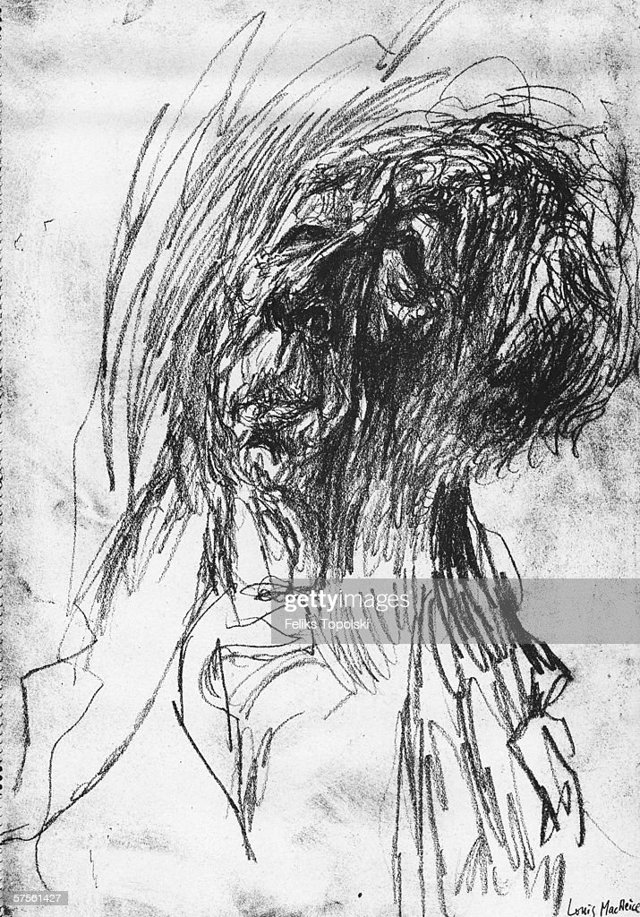 Irish poet and playwright Frederick Louis MacNeice (1907 - 1963). A sketch by Polish-born British expressionist Feliks Topolski from Topolski's Chronicle Vol X, pub. 1962.