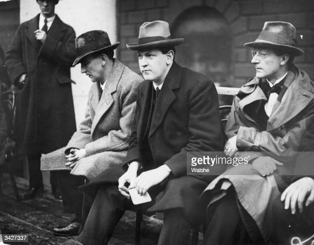 Irish politician and Sinn Fein leader Michael Collins and Gearoid O'Sullivan at the ceremony to launch the Irish Free State at College Green Dublin...