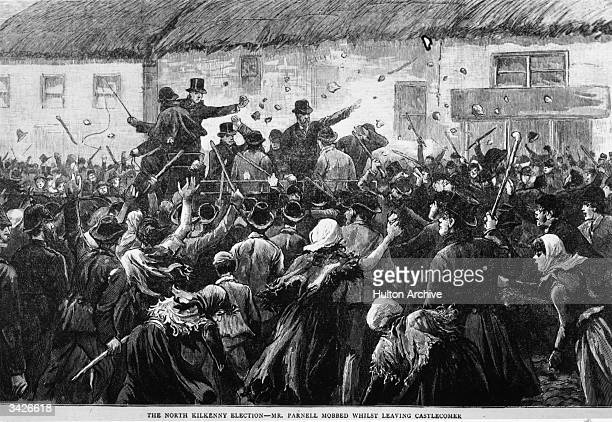 Irish politician Charles Parnell mobbed when leaving Castlecomer during the Kilkenny byelection at the time of his disputed leadership of the Irish...