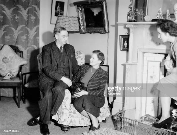 Irish politician John A Costello the new Taoiseach at home in Dublin Park with his wife Ida Mary Costello 21st February 1948