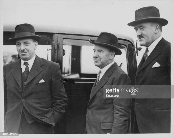 Irish politicians arriving in London; Deputy Prime Minister Sean Lemass, High Commissioner John Dulanty and Finance Minister Frank Aiken, Northolt,...