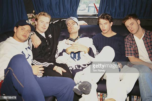 Irish pop group Boyzone on the tour bus 1996