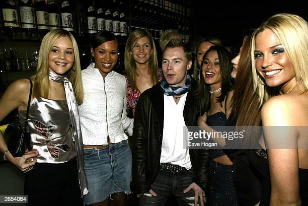 "Irish pop star Ronan Keating and British pop stars Cheryl Tweedy, Nicola Roberts and Sarah Harding of the pop group ""Girls Aloud"" attend Westlife's..."