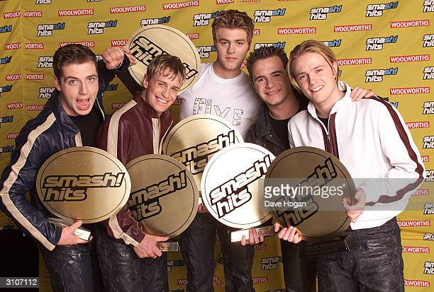 Irish pop stars Mark Feehily Kian Egan Bryan McFadden Shane Filan and Nicky Byrne of the pop group Westlife attend the Smash Hits Poll Winners Party...