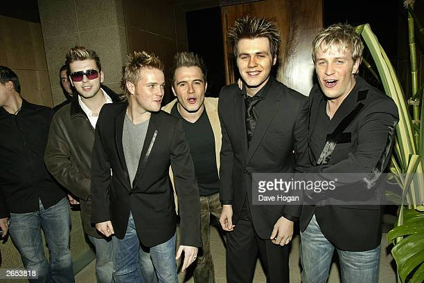 "Irish pop stars Mark Feehily, Nicky Byrne, Shane Filan, Bryan McFadden, Kian Egan of the pop group ""Westlife"" attend their ""Unbreakable"" album launch..."
