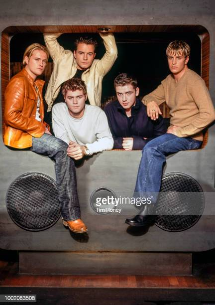 Irish pop vocal group Westlife, UK, circa 2000; from left to right they are Nicky Byrne, Shane Filan, Brian McFadden, Kian Egan, Markus Feehily.