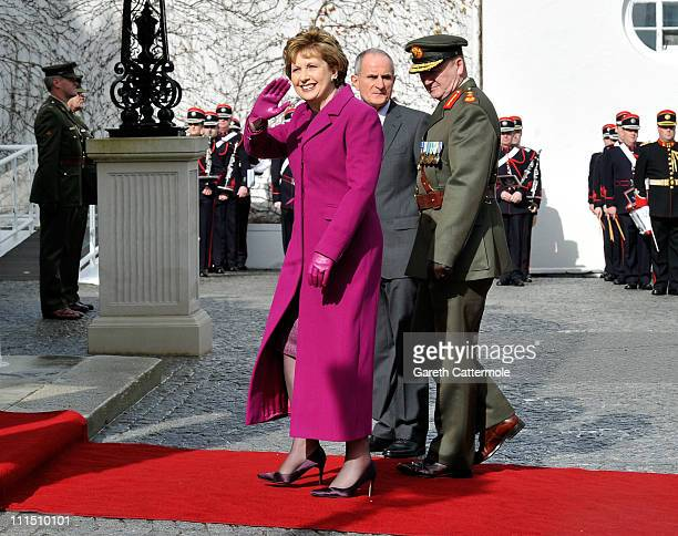 Irish President Mary McAleese and her husband Martin host a ceremonial welcome and tree planting at Aras an Uachtarain the official residence of the...