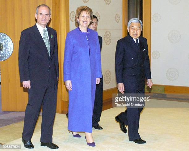 Irish President Mary McAleese and her husband Martin McAleese are escorted by Emperor Akihito prior to their meeting at the Imperial Palace on March...
