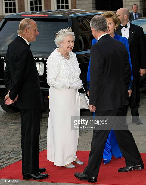 Irish President Mary McAleese and her husband Martin McAleese greet Queen Elizabeth II and Prince Philip, Duke of Edinburgh as they arrive for a...