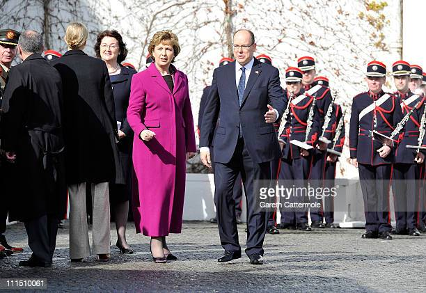 Irish President Mary McAleese and His Serene Highness Prince Albert II Of Monaco attend a ceremonial welcome and tree planting at Aras an Uachtarain...
