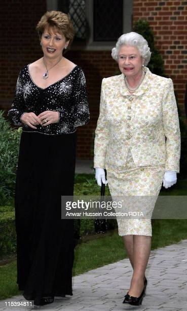 Irish President Mary McAleese and HM The Queen Elizabeth II during a reception to celebrate the 25th anniversary of Cooperation Ireland Thursday June...