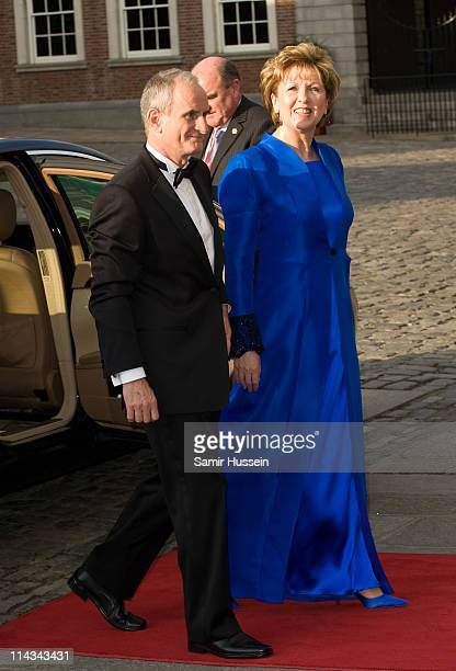 Irish President Mary McAleese and husband Martin McAleese arrive for a State Dinner at Dublin Castle on May 18, 2011 in Dublin, Ireland. The Duke and...