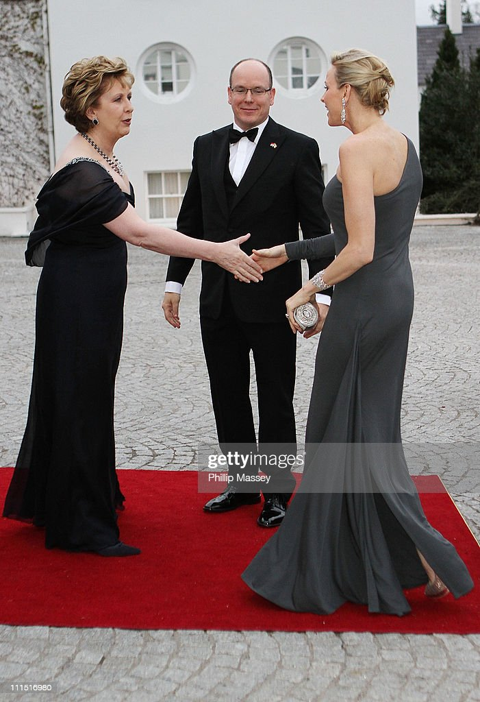 Irish President Mary McAleese greets Charlene Wittstock and His Serene Highness, Prince Albert II Of Monaco at a State Dinner at Aras an Uachtarain, the official residence of the President of Ireland during a State visit on April 4, 2011 in Dublin, Ireland.
