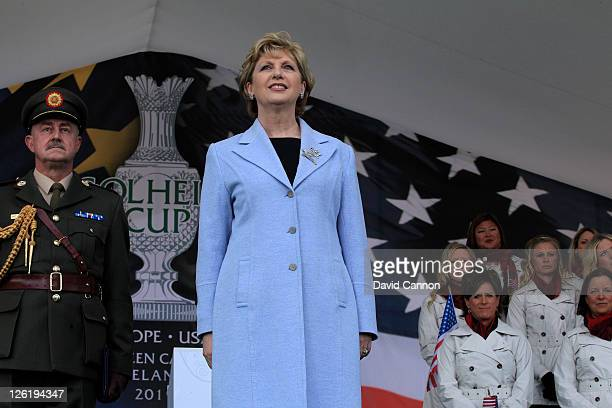 Irish President Mary McAleese looks on during the opening ceremony prior to the 2011 Solheim Cup at Killeen Castle Golf Club on September 22 2011 in...
