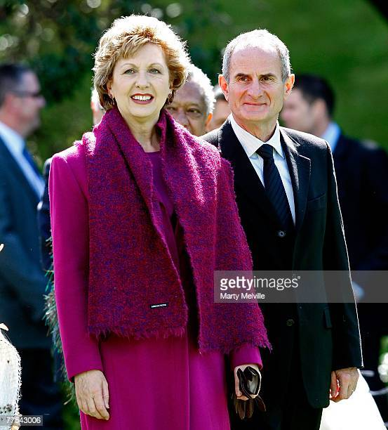 Irish President Mary McAleese looks on with her husband Dr Martin McAleese during a Maori welcome at Government House on October 29, 2007 in...