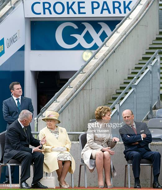 Irish President Mary McAleese Queen Elizabeth II President of the Gaelic Athletic Association Christy Cooney and Prince Philip Duke of Edinburgh...