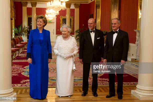 Irish President Mary McAleese, Queen Elizabeth II, Prince Philip, Duke of Edinburgh and Martin McAleese attend a State Dinner on May 18, 2011 in...