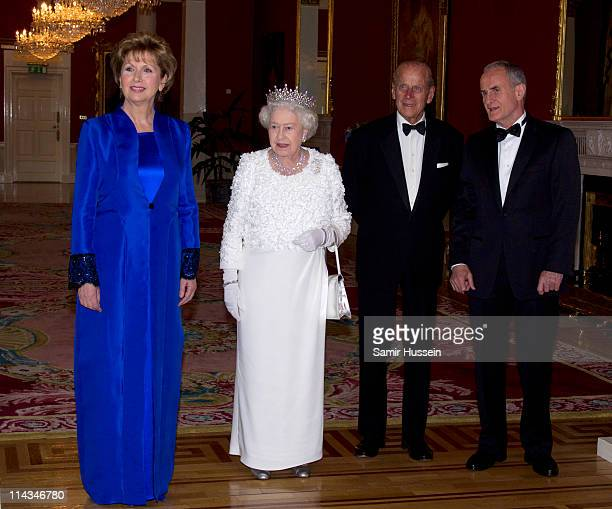 Irish President Mary McAleese, Queen Elizabeth II, Prince Philip, Duke of Edinburgh and Martin McAlesse attend a State Dinner on May 18, 2011 in...