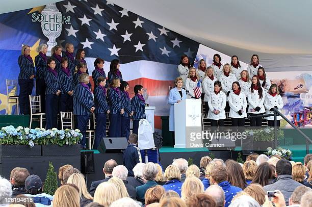 Irish President Mary McAleese speaks during the opening ceremony prior to the 2011 Solheim Cup at Killeen Castle Golf Club on September 22 2011 in...
