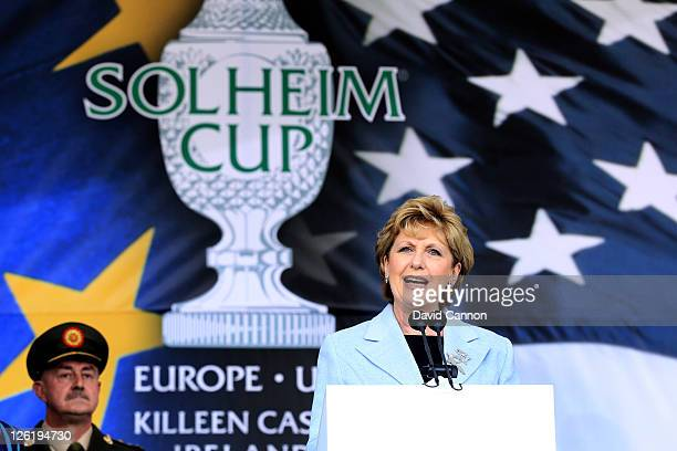 Irish President Mary McAleese speaks during the opening ceremony prior to the 2011 Solheim Cup at Killeen Castle Golf Club on September 22, 2011 in...