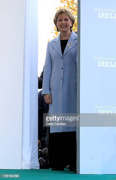 Irish President Mary McAleese waits to walk on stage during the opening ceremony prior to the 2011 Solheim Cup at Killeen Castle Golf Club on...