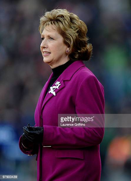 Irish President Mary McAleese walks out to greet the players during the RBS Six Nations match between Ireland and Scotland at Croke Park on March 20,...