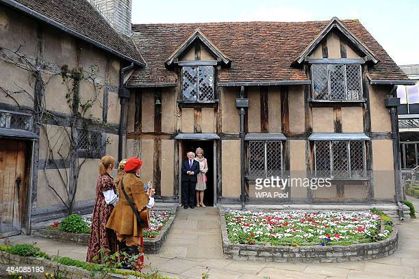 Irish President Michael D Higgins and his wife Sabina Higgins during a visit to Shakespeare's Birthplace on April 11 2014 in StatforduponAvon England...