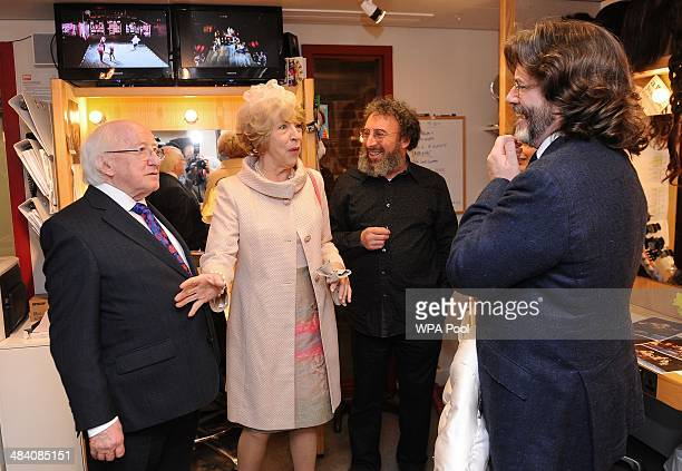 Irish President Michael D. Higgins and his wife Sabina Higgins meet actor Sir Anthony Sher and artistic director Gregory Doran during a visit to the...
