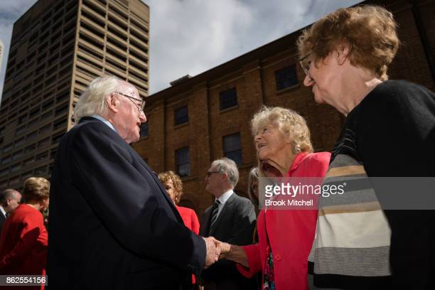 Irish President Michael D Higgins greets family members of victims of the Irish Famine at The Australian Monument to the Great Irish Famine on...