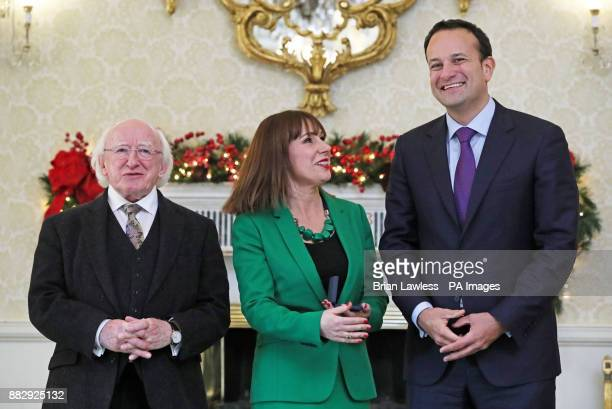 Irish President Michael D Higgins newly appointed Minister for Culture Heritage and the Gaeltacht Josepha Madigan and Taoiseach Leo Varadkar at the...