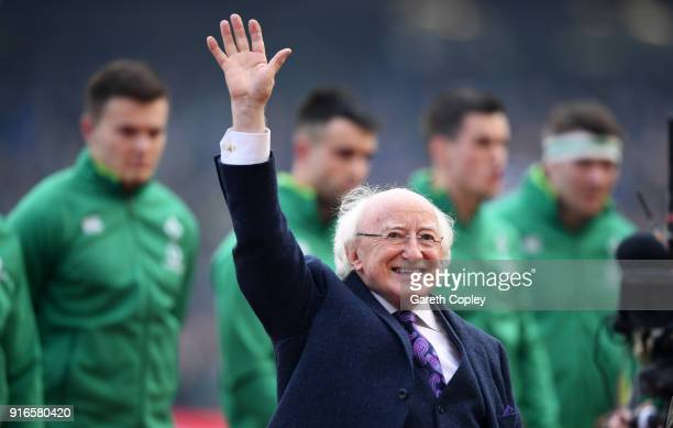 Irish president Michael D Higgins waves to the crowd ahead of the NatWest Six Nations match between Ireland and Italy at Aviva Stadium on February 10...