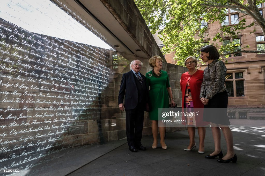 Irish President Michael D. Higgins (L) with his partner Sabina Higgins, Ireland's Deputy PM Frances Fitzgerald and New South Wales Premiere Gladys Berejiklian inspect The Australian Monument to the Great Irish Famineat October 18, 2017 in Sydney, Australia. Higgins is on a three-day visit to Australia to discuss bilateral talks between the two countries.
