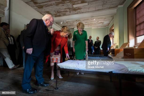Irish President Michael D Higgins with Ireland's Deputy PM Frances Fitzgerald and his partner Sabina Higgins are pictured inspecting an exhibition...