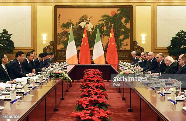 Irish President Michael Higgins attends a meeting with Chinese President Xi Jinping in Beijing's Great Hall of the People on December 9 2014 in...