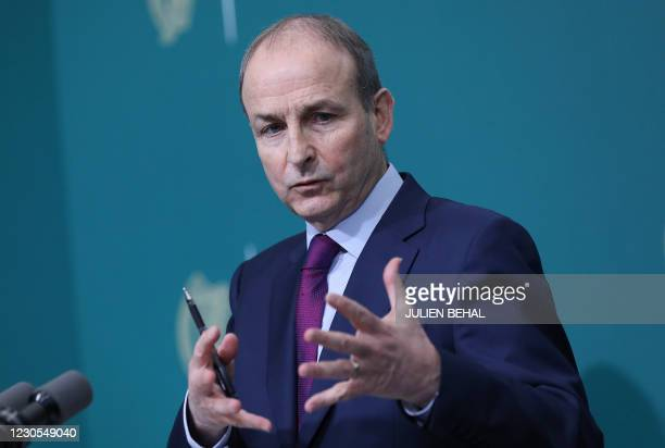 Irish Prime Mininster Micheal Martin holds a press briefing to introduce the publication of a report by Ireland's Commission of Investigation into...
