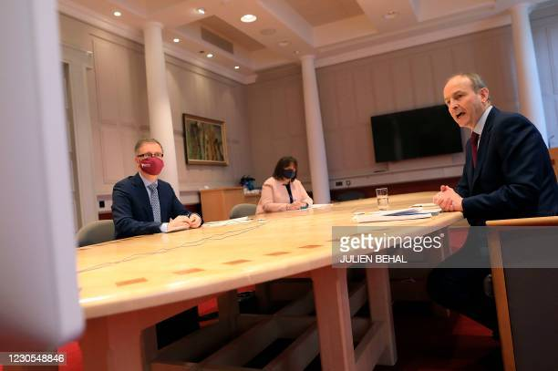 Irish Prime Mininster Micheal Martin with Children's Minister Roderic O'Gorman and Minister of State for Disability at the Department of Children,...