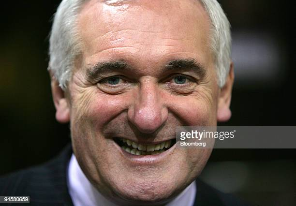 Irish Prime Minister Bertie Ahern smiles after visiting RTE's Irish television studios early in the morning, on Saturday, May 26 in Dublin, Ireland....