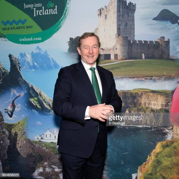 Irish Prime Minister Enda Kenny attends as Tourism Ireland marks its St Patrick's Day Global Greening Initiative at One World Observatory on March 17...
