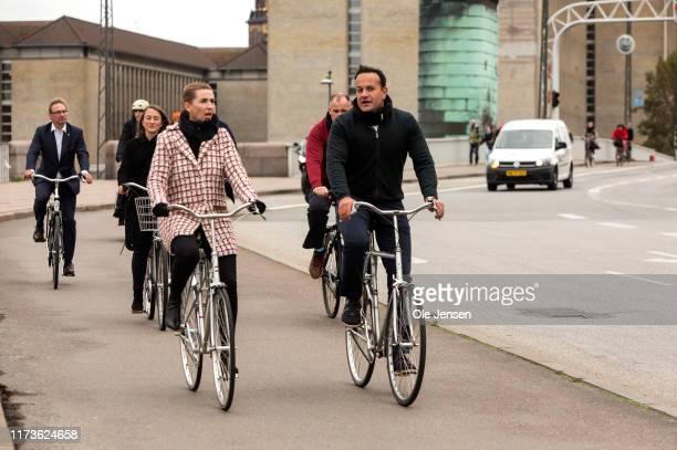 Irish Prime Minister Leo Varadkar and Danish Prime Minister Mette Frederiksen take part in a biking tour through the Danish capital on October 4 2019...