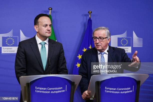 Irish Prime Minister Leo Varadkar and European Commission President JeanClaude Juncker give a press conference about the Brexit at the European...