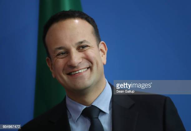 Irish Prime Minister Leo Varadkar and German Chancellor Angela Merkel speak to the media following talks at the Chancellery on March 20 2018 in...