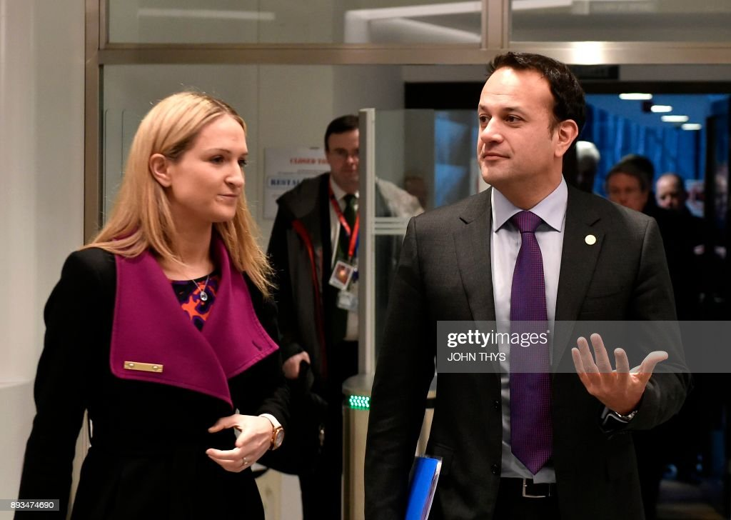 Irish Prime minister Leo Varadkar (R) and Irish Foreign Affairs Minister Helen McEntee arrive for a joint press conference on the second day of a European Union summit in Brussels at the EU headquarters on December 15, 2017. /