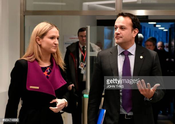 Irish Prime minister Leo Varadkar and Irish Foreign Affairs Minister Helen McEntee arrive for a joint press conference on the second day of a...