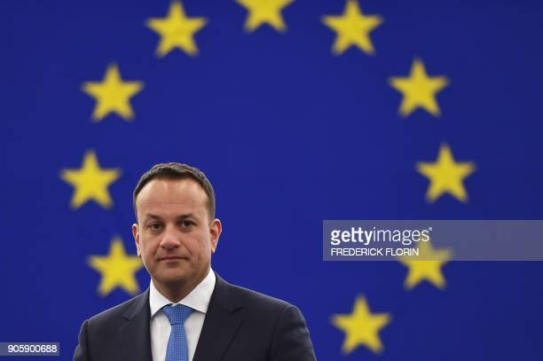 Irish Prime minister Leo Varadkar arrives for a debate as part of a plenary session at the European Parliament on January 17 2018 in Strasbourg...