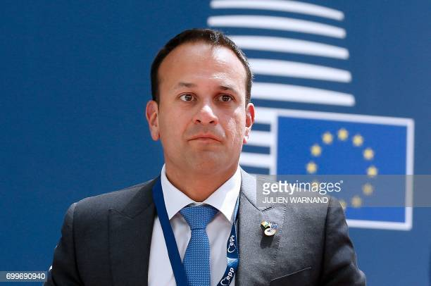 Irish Prime Minister Leo Varadkar arrives for an European Union leaders summit on June 22 at the European Council in Brussels / AFP PHOTO / POOL /...