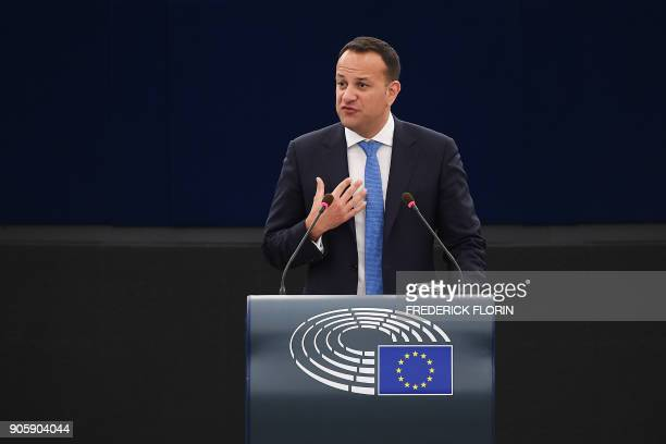 Irish Prime minister Leo Varadkar delivers a speech as part of a plenary session at the European Parliament on January 17 2018 in Strasbourg eastern...