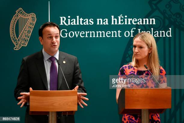 Irish Prime minister Leo Varadkar gives a joint press conference with Irish Foreign Affairs Minister Helen McEntee on the second day of a European...