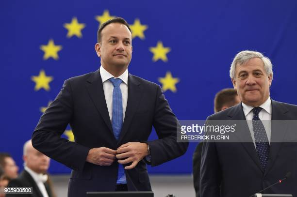 Irish Prime minister Leo Varadkar is welcomed by President of the European Parliament Antonio Tajani prior a debate as part of a plenary session at...