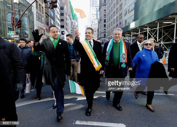 Irish Prime Minister Leo Varadkar New York Governor Andrew Cuomo and Congressman Peter King attend the 2018 New York City St Patrick's Day Parade on...